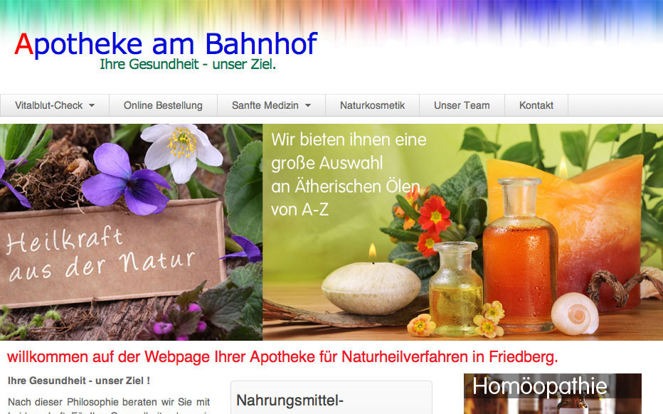 webdesign 5steps online Apotheke am Bahnhof screen auss